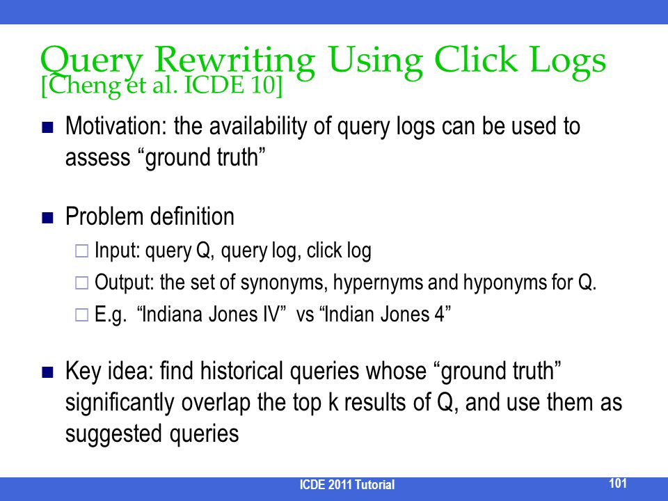 Query Rewriting Using Click Logs [Cheng et al. ICDE 10]